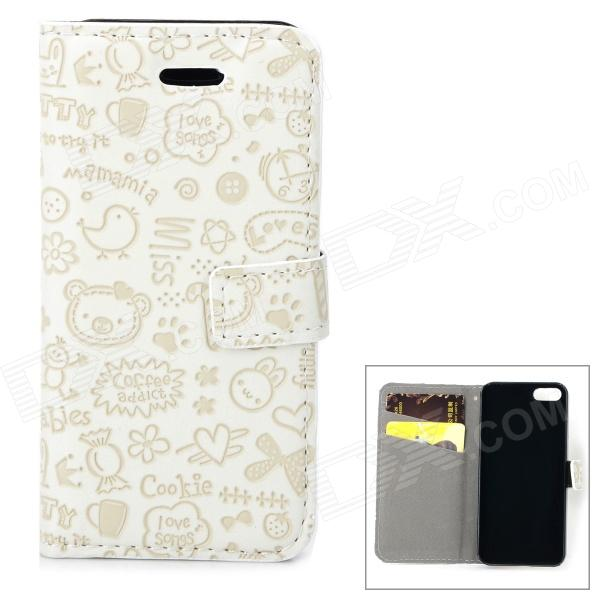 Cute Cartoon Pattern Flip-open PU Case w/ Holder + Card Slot for IPHONE 5 / 5S - White protective flip open pc pu leather case w holder card slot for iphone 5 5s black