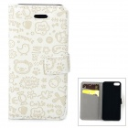 Cute Cartoon Pattern Flip-open PU Case w/ Holder + Card Slot for IPHONE 5 / 5S - White