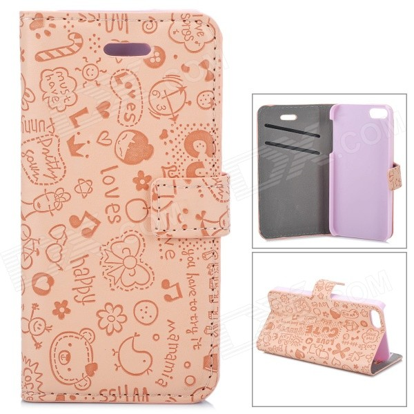 Cute Cartoon Pattern Flip-open PU Case w/ Holder + Card Slot for IPHONE 5 / 5S - Pink protective flip open pc pu leather case w holder card slot for iphone 5 5s black