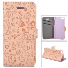 Cute Cartoon Pattern Flip-open PU Case w/ Holder + Card Slot for IPHONE 5 / 5S - Pink