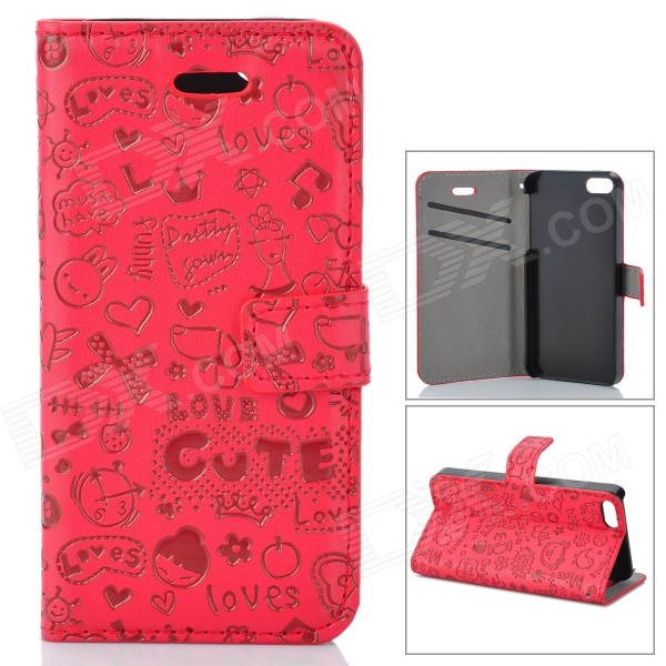 Cute Cartoon Pattern Flip-open PU Case w/ Holder + Card Slot for IPHONE 5 / 5S - Red protective flip open pc pu leather case w holder card slot for iphone 5 5s black