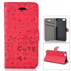 Cute Cartoon Pattern Flip-open PU Case w/ Holder + Card Slot for IPHONE 5 / 5S - Red