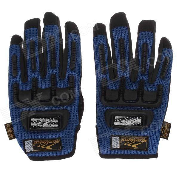 Mad Bike MAD-11 Professional Full-Finger Racing Gloves w/ Touch Screen - Blue + Black (Size-M)
