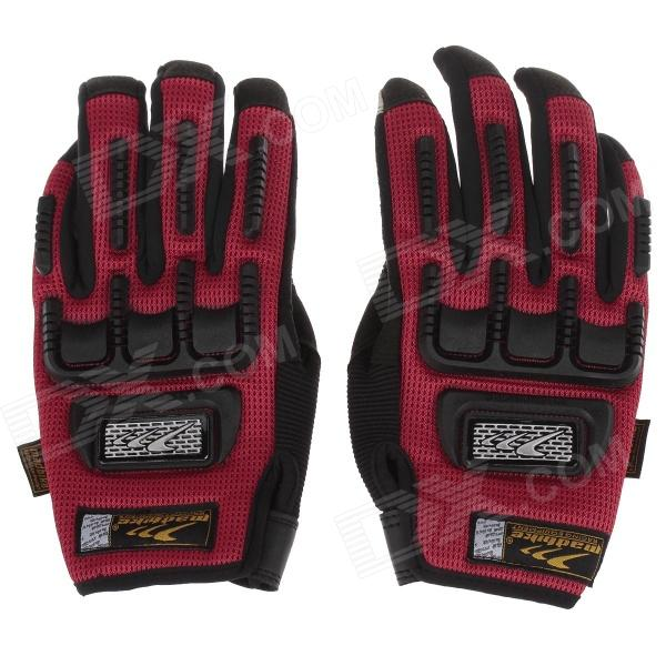 Mad Bike MAD-11 Professional Full-Finger Racing Gloves w/ Touch Screen - Red + Black (Size-M)