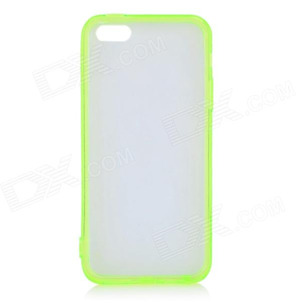 Stylish PC + TPU Back Case w/ Anti-dust Plug for IPHONE 5 / 5S - Transparent White + Green protective tpu soft back case cover w anti dust plug for iphone 5 translucent green