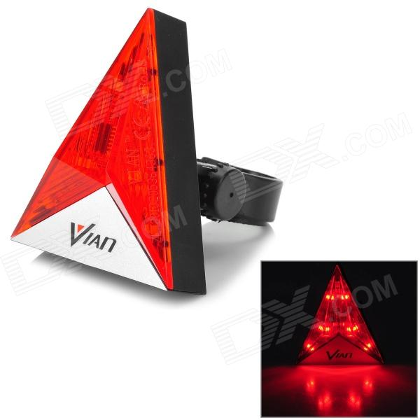 Vian f-35 Bicycle Triangle Shape 6 LED 2 Mode Red Light Tail Light - White + Red + Multi-Colored ufo style 6 led 7 mode red light warning tail lamp for bicycle red green 2 x aaa