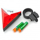 Vian f-35 Bicycle Triangle Shape 6 LED 2 Mode Red Light Tail Light - White + Red + Multi-Colored