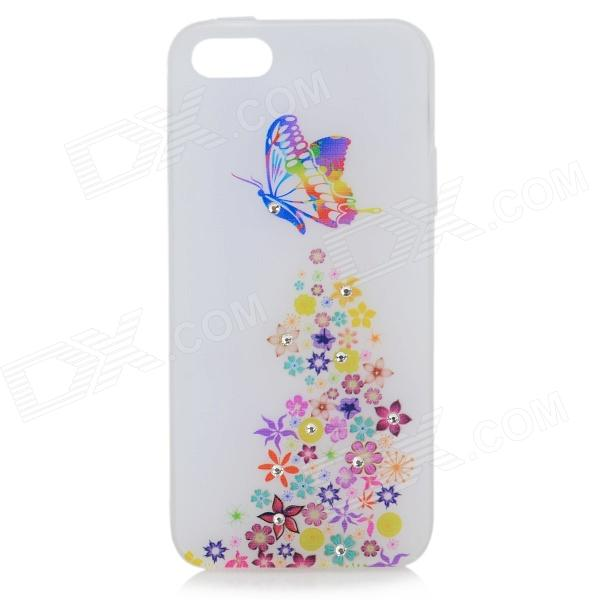 Stylish Shiny Rhinestone Butterfly Pattern TPU Back Case for IPHONE 5 / 5S - White + Multicolored princess style shiny crystal back case for iphone 5 white