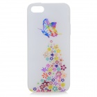 Stylish Shiny Rhinestone Butterfly Pattern TPU Back Case for IPHONE 5 / 5S - White + Multicolored