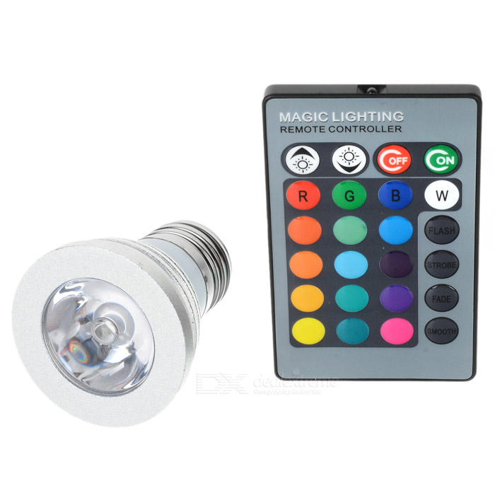 E27 3W RGB Multicolored IR Remote Control Light Bulb (110~220V AC)