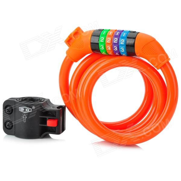 ZhongLi 87610 Bicycle Anti-theft Soft Coded Lock - Orange + Black + Multi-Colored trelock bicycle cable lock bike steel locks biking bicycle lock anti theft security level 3 cycling locks bicycle accessories