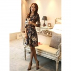 Fashion Floral Slim Cotton Dress - Cyan + Grey + Multi-Colored (Size M)