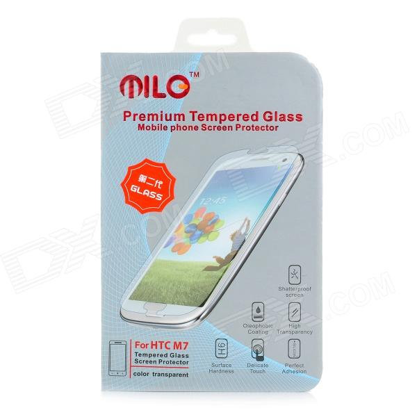 Milo Protective Clear Tempered Glass Screen Protector for HTC One M7 - Transparent