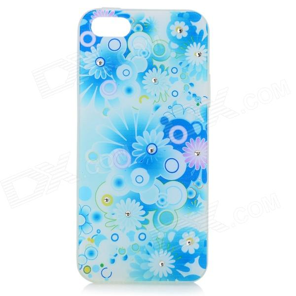 Stylish Shiny Rhinestone Inlaid Flower Pattern TPU Back Case for IPHONE 5 / 5S - White + Light Blue cute girl pattern protective rhinestone decoration back case for iphone 5 light pink light blue