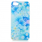 Stylish Shiny Rhinestone Inlaid Flower Pattern TPU Back Case for IPHONE 5 / 5S - White + Light Blue