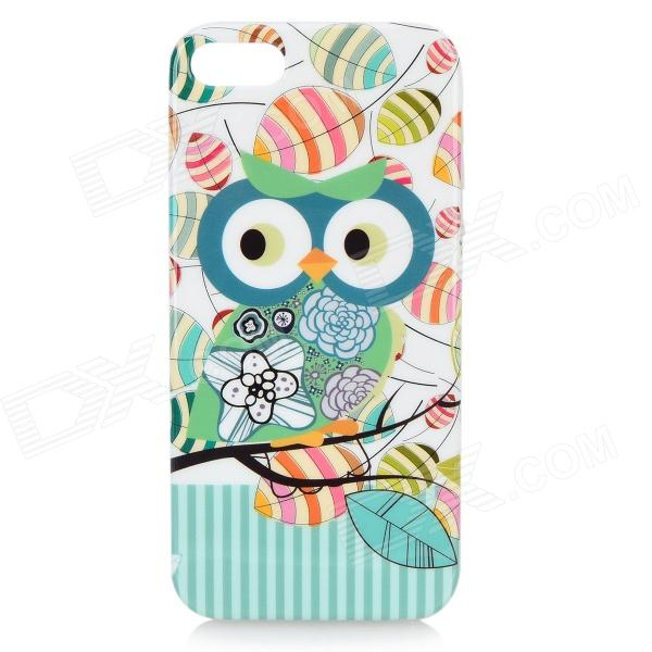 Cute Owl Pattern Protective TPU Back Case for IPHONE 5G / 5S - Cyan + Grey + Multi-Colored tpu material protective back case cover owl pattern for iphone 5c