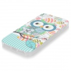 Cute Owl Pattern Protective TPU Back Case for IPHONE 5G / 5S - Cyan + Grey + Multi-Colored
