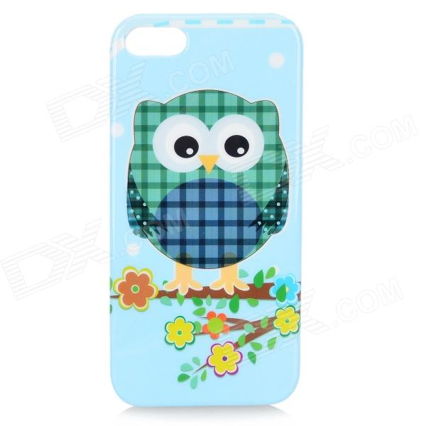 Cute Cartoon Awl Pattern TPU Back Case for IPHONE 5 / 5S - Light Blue