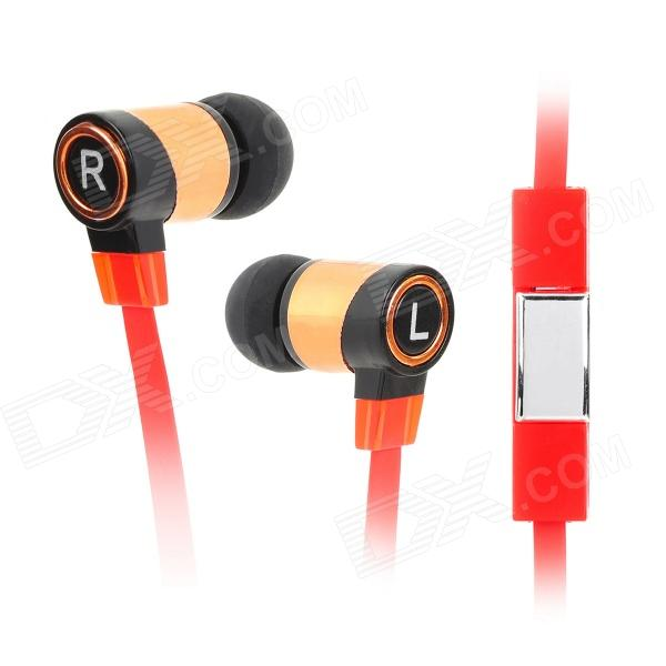 Universal 3.5mm In-Ear Flat Earphone w/ Microphone + Stylus Pen Plug for Cellphones - Red + Copper