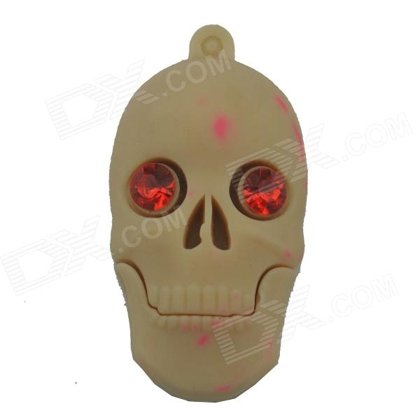 Skull Style USB 2.0 Flash Drive Disk - Khaki + Red (4GB) skull style usb 2 0 flash drive disk khaki red 4gb