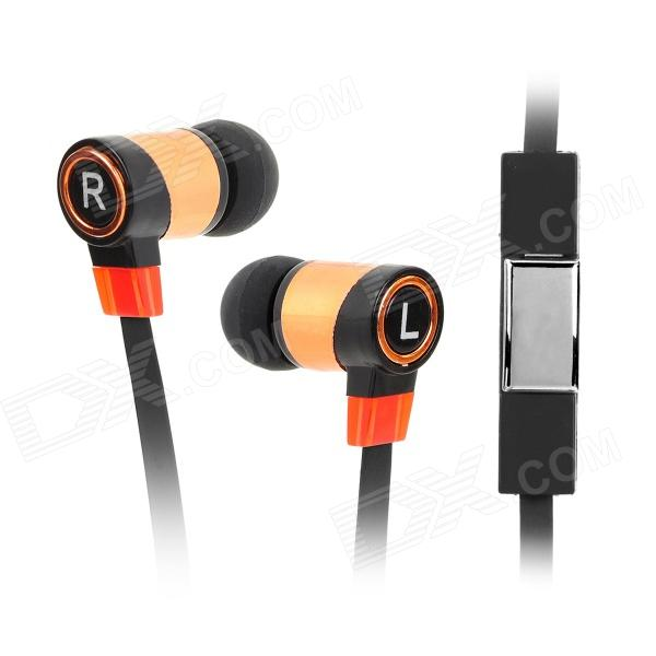 Universal 3.5mm In-Ear Flat Earphone w/ Microphone + Stylus Pen Plug for Cellphones - Black + Copper