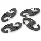 Outdoor Wargame 8 Style Plastic Buckle - Black (4 PCS)