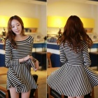Fashion Cross Stripe Cotton Dress - White + Black (Size L)