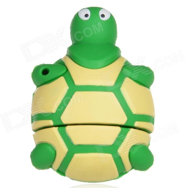 Cute Cartoon Tortoise Style USB 2.0 Flash Drive - Green + Light Yellow (16GB) cute slippers style usb flash drive with chain deep pink 16gb