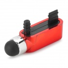 S-What Data Port + Earphone Jack Anti-Dust Plug w/ Stylus Pen for IPHONE 5 / 5S - Red