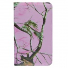 Tree Branch Style 360 Degree Rotation PU Leather Case for Samsung Galaxy Tab 3 T310 / P8200 - Pink