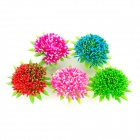E5ZTY Realistic Decorative Plastic + Ceramic Water Plant for Fish Tank - Pink + Multicolored (5 PCS)