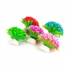 Realistic Decorative Plastic + Ceramic Water Plant for Fish Tank - Pink + Multicolored (5 PCS)