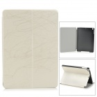 Stylish Protective PU Leather + Plastic Case w/ Auto Sleep for IPAD AIR - White