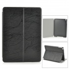 Stylish Protective PU Leather + Plastic Case w/ Auto Sleep for IPAD AIR - Black