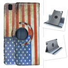 US National Flag Style 360 Degree Rotation PU Leather Case for Samsung Galaxy Tab Pro T320 - Red