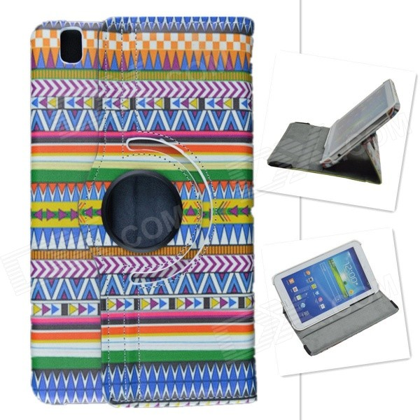 Tribal Lines Rotation PU Leather Case Stand for Samsung Galaxy Tab Pro T320 8.4 - Multicolored protective pu leather full body case cover for samsung galaxy tab pro 8 4 t320 blue