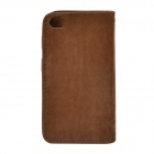 Squirrel Grain Style Protective PU Leather + Plastic Case for IPHONE 4 / 4S - Dark Brown
