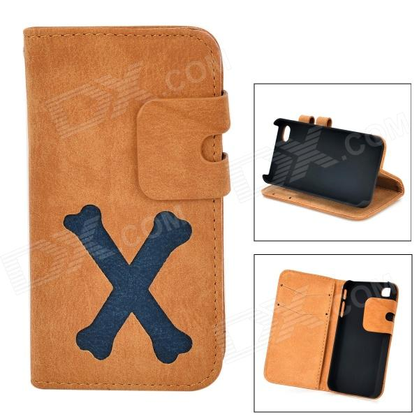 Cartoon Bone Style Protective PU Leather Case for IPHONE 4 / 4S - Brownish Yellow stylish protective pu leather case for iphone 4 4s brown