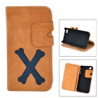 Cartoon Bone Style Protective PU Leather Case for IPHONE 4 / 4S - Brownish Yellow