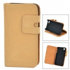 Squirrel Grain Style Protective PU Leather + Plastic Case for IPHONE 4 / 4S - Yellow