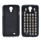 Punk Style Rivet Skulls Protective PU Leather Back Case for Samsung Galaxy S4 i9500 - Black