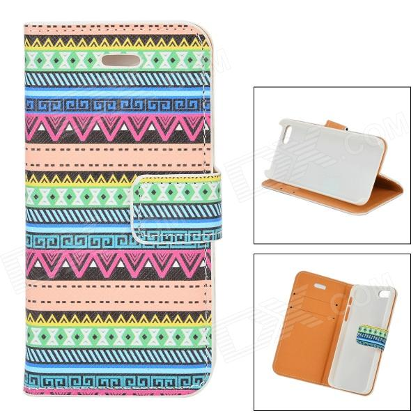 Stylish Geometric Pattern Flip-open PU Case w/ Holder + Card Slot for IPHONE 5 / 5S - Blue + Dark Pi