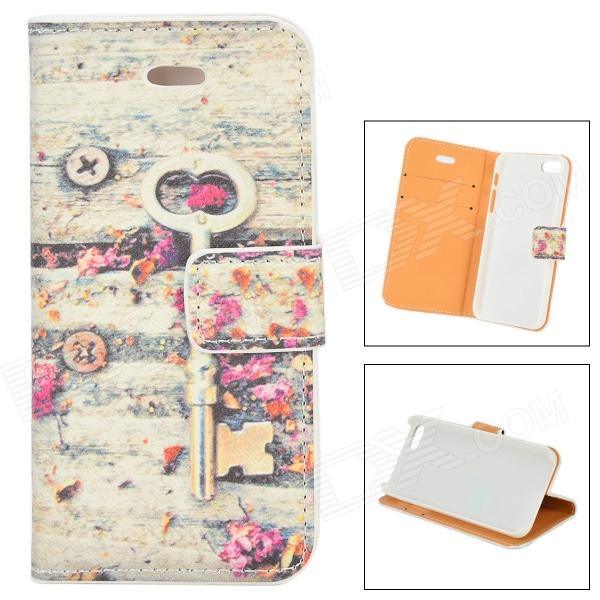 Key Flower Protective PU Flip Open Case w/ Stand / Card Slots for IPHONE 5 / 5S plaid pattern protective pu flip open case w stand card slots for iphone 5 5s white