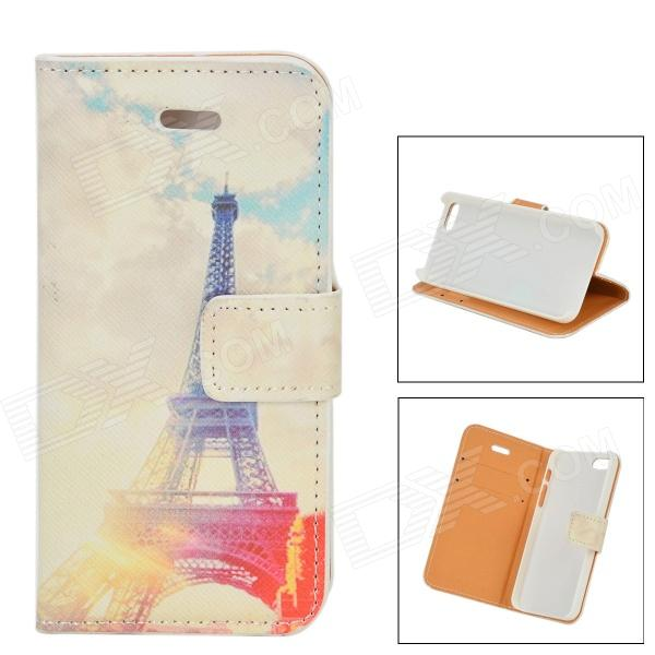 Eiffel Tower Pattern Protective PU Flip Open Case w/ Stand / Card Slots for IPHONE 5 / 5S eiffel tower pattern protective pu leather flip open case w stand card slots for moto g2