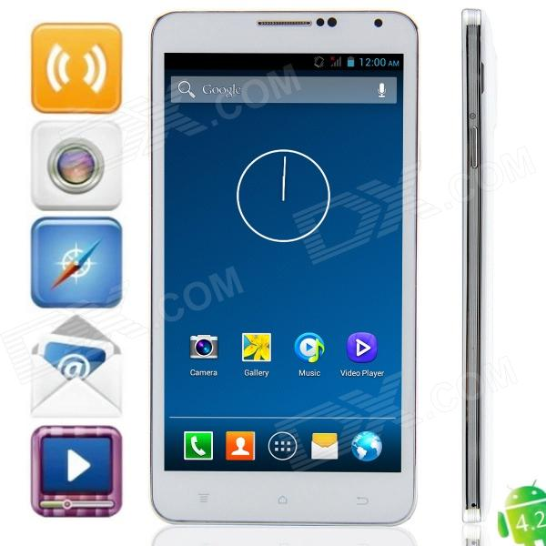 W550 MTK6582 Quad-core Android 4.2.2 WCDMA Bar Phone w/ 5.5″ IPS, FM, Wi-Fi and GPS – White