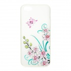 Cherry Pattern Protective TPU + Rhinestones Back Case for IPHONE 5 / 5S - White + Multicolored