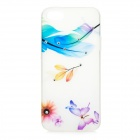 Feather + Butterfly Pattern TPU + Rhinestones Back Case for IPHONE 5 / 5S - White + Purple