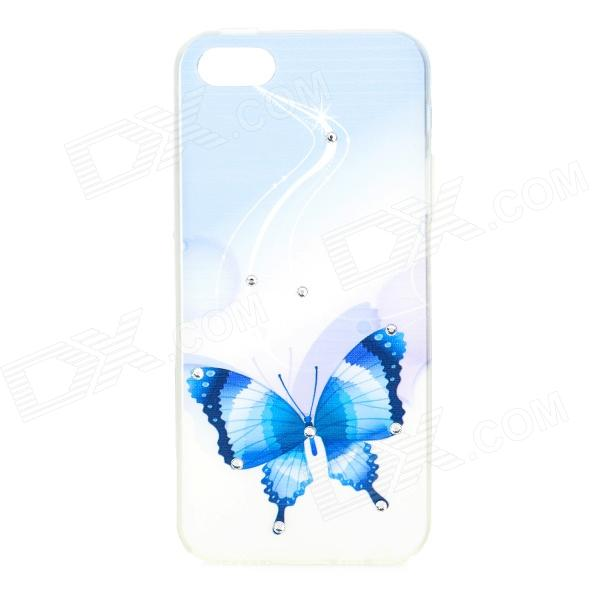 Butterfly Pattern Protective TPU + Rhinestones Back Case for IPHONE 5 / 5S - White + Blue цена 2017