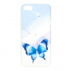 Butterfly Pattern Protective TPU + Rhinestones Back Case for IPHONE 5 / 5S - White + Blue