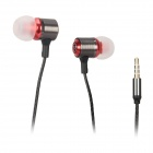 Universal 3.5mm In-Ear Earphones w/ Microphone + Volume Control - Black + Red